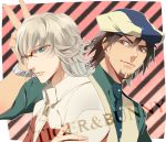 barnaby_brooks_jr blonde_hair blue_eyes brown_eyes brown_hair cabbie_hat crossed_arms facial_hair glasses hat jacket jewelry kaburagi_t_kotetsu male multiple_boys necklace necktie red_jacket short_hair stubble tiger_&_bunny tyuraba v vest waistcoat
