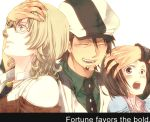 age_difference barnaby_brooks_jr blonde_hair bracelet brown_eyes brown_hair cabbie_hat closed_eyes eyelashes eyes_closed facial_hair father_and_daughter glasses green_eyes hamster_(capsule0910) hand_in_hair hat jacket jewelry kaburagi_kaede kaburagi_t_kotetsu laughing male multiple_boys necklace necktie red_jacket ring short_hair side_ponytail stubble tiger_&_bunny vest waistcoat watch wedding_band wristwatch