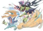 altaria axew black_hair brown_eyes charizard creature dark_skin dragon dragonite flying gabite haxorus highres hydreigon iris_(pokemon) jumping kingdra latias latios long_hair monster odd_one_out pointing pokemon pose purple_hair seahorse