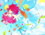 aquafeles balloon bare_shoulders blue_eyes blurry boots bracelet breasts candy cleavage cloud confetti cupcake depth_of_field fingerless_gloves frills gloves goggles goggles_on_head jeans jewelry long_hair multicolored_hair multiple_girls my_little_pony my_little_pony_friendship_is_magic open_mouth outstretched_hand personification pink_hair pinkie_pie rainbow_dash rainbow_hair short_hair smile thigh-highs thighhighs