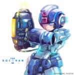 artist_request blue blue_eyes capcom helmet kusagami_style male robot robot_joints rockman rockman_(character) simple_background solo x