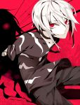 1boy accelerator albino arms_behind_back bad_id choker flower hachizowo highres looking_at_viewer male pants payot red_eyes shirt silhouette sitting solo spider_lily to_aru_majutsu_no_index white_hair