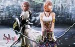 2girls armor blue_eyes bow_and_arrow city final_fantasy final_fantasy_xiii final_fantasy_xiii-2 lightning_farron pink_hair realistic serah_farron short_hair siblings sisters sword wallpaper watermark weapon