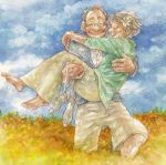 carrying closed_eyes couple eyes_closed flower glasses hair_flower hair_ornament happy hug ina_(gonsora) old old_man old_woman original princess_carry shoes smile white_hair