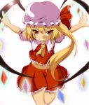 ascot blonde_hair dr._cryptoso flandre_scarlet hat highres lens_flare midriff navel outstretched_arms red_eyes side_ponytail skirt slit_pupils smile solo the_embodiment_of_scarlet_devil touhou wings