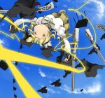 beret blonde_hair boots breasts detached_sleeves drill_hair gun hair_ornament hat large_breasts magical_girl magical_musket mahou_shoujo_madoka_magica pleated_skirt ribbon skirt solo taut_shirt tomoe_mami upside-down vertical-striped_legwear vertical_stripes weapon witch's_labyrinth witch's_labyrinth yellow_eyes zinger_(excess_m) zzinzinz