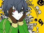 ciel_phantomhive city gloves heterochromia kuroshitsuji long_sleeves male matryoshka_(vocaloid) multicolored_eyes parody short_hair solo