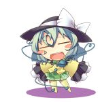1girl =_= blush_stickers chibi eyeball heart heart_of_string komeiji_koishi long_hair lowres nyagakiya open_mouth silver_hair skirt sleeves_past_wrists smile solo thigh-highs third_eye touhou