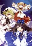 artist_request blonde_hair blush bow brown_eyes brown_hair dress drill_hair fairy fairy_wings fang hair_bow hair_ribbon hat highres kona_(canaria) long_hair luna_child maid_headdress open_mouth outstretched_arms purple_eyes red_eyes ribbon short_hair short_twintails star_sapphire sunny_milk touhou twintails violet_eyes wings