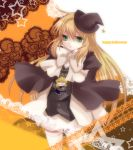 blonde_hair cocorosso green_eyes hat long_hair pandora_hearts ribbon school_uniform skirt thigh-highs thighhighs vincent_nightray white_legwear witch_hat