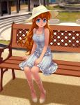 bare_shoulders bench blue_eyes collarbone cross-laced_footwear dress hat kiazee long_hair looking_at_viewer open_mouth orange_hair original park shoes sitting smile solo sun_hat sundress
