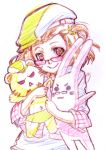 age_difference barnaby_brooks_jr bespectacled blush braid brown_hair cabbie_hat character_doll checkered checkered_shirt color_trace colored_pencil_(medium) father_and_daughter glasses hat kaburagi_kaede kaburagi_t_kotetsu nishida_asako plaid plaid_shirt shirt short_hair side_ponytail smile solo stuffed_animal stuffed_bunny stuffed_tiger stuffed_toy tiger_&_bunny traditional_media