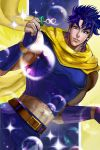 1boy absurdres blue_eyes blue_hair bubble bubble_blowing facial_mark fingerless_gloves gloves highres jojo_no_kimyou_na_bouken joseph_joestar_(young) midriff mingou91 scarf solo sparkle yellow_scarf
