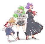 :p backpack bag blonde_hair blush crossed_arms gohei green_hair hand_on_hip kochiya_sanae long_hair moriya_suwako multiple_girls necktie purple_hair randoseru red_eyes school_uniform serafuku shide short_hair skirt smile sweater tongue touhou v wink yasaka_kanako
