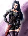 black_hair blush_response chain chains choker corset gothic grey_eyes hand_on_hip hips idolmaster jewelry leather lips long_hair miura_azusa necklace ring solo thigh-highs thighhighs zettai_ryouiki
