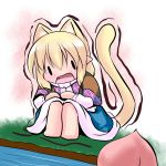 animal_ears blonde_hair cat_ears cat_tail chibi extra_ears food food_awe fruit hoshizuki_(seigetsu) kemonomimi_mode mizuhashi_parsee open_mouth peach puru-see scarf sitting solo tail touhou trembling water
