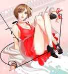 breasts brown_eyes brown_hair cleavage dress flapper_girl high_heels jewelry lipstick makeup meiko microphone necklace okeya_(ol23) red_dress red_lipstick ribbon shoes short_hair smile solo vocaloid
