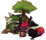 bird blush fedora flower hat honchkrow pokemon pokemon_(anime) purple_hair red_rose rose shinji_(pokemon) simple_background todot torterra tree upside-down weavile