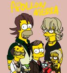 alexander_lloyds barnaby_brooks_jr bart_simpson blonde_hair brown_hair facial_hair formal glasses homer_simpson jewelry kaburagi_t_kotetsu karagenki lips male marge_simpson matt_groening_(style) mecha mole multiple_boys necklace necktie parody power_armor power_suit saitou_(tiger_&_bunny) short_hair stubble style_parody suit superhero t-shirt the_simpsons tiger_&_bunny vest waistcoat wild_tiger yellow_skin