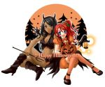 2girls bat_wings black_hair blue_eyes blush boots breasts cleavage dark_skin gemini_sunrise grey_eyes halloween happy_halloween horns jack-o'-lantern lantern lips lipstick long_hair makeup megu_(pixiv) midriff multiple_girls open_mouth orange_legwear pitchfork pumpkin red_hair redhead sagitta_weinberg sakura_taisen sakura_taisen_v side_ponytail smile thigh-highs thighhighs wings