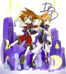 azizya blue_eyes boots brown_hair headphones highres keyblade kingdom_hearts kingdom_hearts_3d_dream_drop_distance multiple_boys orange_hair sakuraba_neku sora_(kingdom_hearts) spoilers subarashiki_kono_sekai wristband
