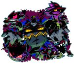 banette creature dusknoir gengar ghost halftone highres mismagius monster no_humans open_mouth pokemon pokemon_(creature) red_eyes sableye sharp_teeth sido_(slipknot) simple_background white_background yellow_eyes