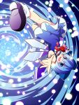 blue_eyes blue_hair bow cirno dress gojuuroku hair_bow open_mouth outstretched_hand perspective smile spiral spiral_background touhou wings