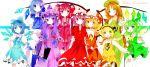 alternate_color apron arms_behind_back ascot blonde_hair blue_eyes blue_hair blue_legwear blush book bow braid brooch brown_hair cirno colorful crescent crystal daiyousei dress fang flandre_scarlet gradient green_eyes green_hair hair_bow hair_ribbon hairband hat hat_bow head_wings highres hong_meiling izayoi_sakuya jewelry koakuma long_hair maid_headdress multiple_girls neck_ribbon necktie open_mouth orange_hair patchouli_knowledge payot purple_eyes purple_hair rainbow_order red_eyes red_hair redhead remilia_scarlet remimim resizing_artifacts ribbon rumia short_hair side_ponytail skirt skirt_set star the_embodiment_of_scarlet_devil thighhighs touhou twin_braids very_long_hair violet_eyes white_legwear wings wrist_ribbon yellow_eyes youkai