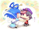 beret black_hair blue_dress blue_eyes blue_hair blush cheek_pull chibi dress feng_shui hair_rings hair_stick hat husui_parashi jiangshi kaku_seiga kneeling miyako_yoshika multiple_girls ofuda open_mouth outstretched_arms shawl shirt sitting skirt smile touhou vest zombie_pose