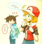 1girl alternate_costume baseball_cap blush cosplay costume_switch green_eyes hat kasumi_(pokemon) kasumi_(pokemon)_(cosplay) kasumi_(pokemon)_(hgss) orange_hair pokemon pokemon_(game) pokemon_frlg pokemon_gsc pokemon_hgss pokemon_special pokemon_specian red_(pokemon) red_(pokemon)_(cosplay) red_(pokemon)_(remake) sei_jun short_hair side_ponytail smile sweatdrop translated