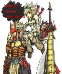 alternate_color barioth_(armor) belt boots capcom character_request creature felyne gauntlets gloves grey_eyes hand_on_head height_difference helmet huge_weapon itouei long_hair male monster_hunter monster_hunter_portable_3rd payot rathalos_(armor) size_difference spiked_hair spiky_hair switch_axe sword weapon white_hair
