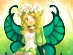 blonde_hair butterfly_wings copyright_notice fairy flower gina_chacon gina_chacã£â³n gina_chacã³n ginilla_(saiyagina) hair_flower hair_ornament mercedes odin_sphere pointy_ears solo wallpaper watermark wings