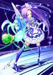 :o blue_background blue_legwear boots cure_beat dress fairy_tone feathers frills gathers hair_ornament hair_ribbon hairpin kurokawa_ellen long_hair love_guitar_rod magical_girl mousoup musical_note open_mouth ponytail precure purple_hair ribbon ruffles siren_(suite_precure) solo suite_precure thigh-highs thigh_boots thighhighs wand wrist_cuffs yellow_eyes