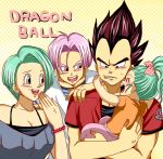 :d ^o^ agehay aqua_eyes black_eyes black_hair blue_eyes blue_hair blush bow bra_(dragon_ball) brother bulma bura cheek_pinch collarbone daughter dragon_ball dragon_ball_z dragonball_z family father green_eyes green_hair hair_bow hand_on_shoulder hand_to_mouth holding_in_arms laughing mother open_mouth pinch purple_hair short_hair sister smile son teeth trunks trunks_(dragon_ball) vegeta young
