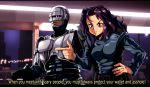 armor auto-9 crossover cyborg fansub full_metal_panic! gun hand_on_hip handgun manly oldschool otaking parody peter_weller police robocop robocop_(character) science_fiction subtitled uniform weapon