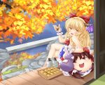 alcohol autumn bad_id blonde_hair gourd hair_ribbon hakurei_reimu hishaku horn_ribbon horns ibuki_suika leaf maple_leaf nekokotei orange_hair ribbon sake solo touhou veranda wrist_cuffs yellow_eyes yukkuri_shiteitte_ne