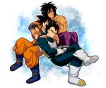 3boys black_eyes black_hair blush broly_(dragon_ball_super) crossed_legs dark_skin dark_skinned_male dragon_ball dragon_ball_super dragon_ball_super_broly hug leaning_on_person male_focus multiple_boys muscular muscular_male one_eye_closed pants pectorals saiyan_armor scar scar_on_chest shirtless short_hair skin_tight son_goku spiky_hair tarutobi tight tight_pants vegeta