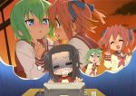 3girls black_hair blue_eyes blush green_eyes green_hair iwasaki_minami kobayakawa_yutaka long_hair lucky_star megane redhead school_uniform seifuku short_hair sunset tamura_hiyori yuri