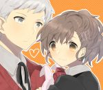 1girl bandaid bow brown_eyes brown_hair couple extpil face female_protagonist_(persona_3) grey-hair grey_eyes grey_hair hair_ornament mota_(extpil) persona persona_3 persona_3_portable ribbon sanada_akihiko school_uniform smile