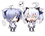 ... 2girls ahoge blue_eyes blue_hair blush chibi closed_eyes koron_(asuka_tsubasa) maid multiple_girls musical_note original pointy_ears reku shiroko_(reku) simple_background smile spoken_musical_note white_background
