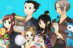 ayasato_mayoi black_hair blue_badger brown_eyes brown_hair buzz cotton_candy fan grey_eyes gyakuten_saiban hair_bun hairbun houzuki_akane japanese_clothes kimono mitsurugi_reiji naruhodou_ryuuichi paper_fan ramune sunglasses uchiwa yakisoba