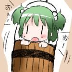 1girl blush bucket chibi green_hair kisume lowres open_mouth shichinose short_hair solo touhou |_|