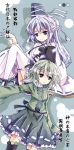 bad_id bondson dress green_eyes green_hair grey_eyes hat japanese_clothes mononobe_no_futo multiple_girls open_mouth ponytail short_hair silver_hair skirt smile soga_no_tojiko tate_eboshi thigh-highs thighhighs touhou