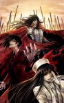alucard_(hellsing) armor beard black_hair cape coat eyelashes facial_hair formal fur_hat genderswap girlycard gloves hat hellsing hellsing:_the_dawn highres long_hair magic_circle male multiple_persona mustache necktie pentagram red_eyes smile smirk stubble suit sword tetra_takamine vampire vlad_tepes vladmir_tepes waistcoat weapon white_gloves
