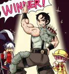 1boy 2girls animal_on_head arm_hair aruse_yuushi beowulf_(skullgirls) bird bird_on_head black_hair bracer cape chair child chinese_clothes crying empty_eyes facial_hair feng_(skullgirls) folding_chair fur_trim grin hand_on_hip hat multicolored_hair multiple_girls muscle pelt pink_eyes pink_hair pointing pointing_at_self pointing_up pose raincoat short_hair sideburns sitting skullgirls smile sparkle suspenders the_hurting two-tone_hair umbrella_(skullgirls) vambraces white_hair