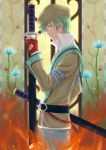 belt beret coat fingerless_gloves flower gloves green_hair grey_eyes hat highres male profile solo spada_belforma sword tales_of_(series) tales_of_innocence weapon yanato_(pixiv1384488)