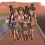 bad_id bag black_hair blush bonjin brown_eyes brown_hair casual closed_eyes eyes_closed guitar_case hair_ornament hairclip hirasawa_ui hirasawa_yui instrument_case k-on! multiple_girls nakano_azusa no_socks ponytail school_uniform smile sunset suzuki_jun twintails
