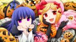 :d blonde_hair blue_eyes blue_hair candy cat_tail chin_rest elbow_gloves fang frederica_bernkastel frills gloves hair_ribbon hat lambdadelta lollipop long_hair mouth_hold multiple_girls nakamorikazusa open_mouth pillow pumpkin red_eyes ribbon smile tail tail_ribbon umineko_no_naku_koro_ni