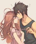 1girl ? blush brown_eyes brown_hair couple endou_mamoru endou_natsumi harumi_chihiro inazuma_eleven inazuma_eleven_(series) inazuma_eleven_go raimon_natsumi