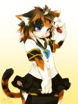 animal_ears blue_eyes blush briefcase cat cat_ears clothing copyright_request cotora feline female furry mizuki_kotora open_mouth paws school_uniform serafuku short_hair simple_background skirt solo tail wide_hips young